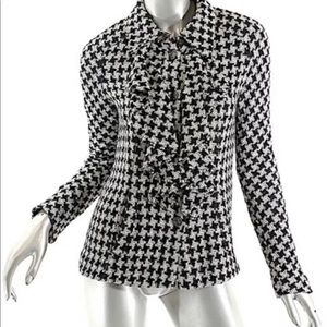 Chanel 09P Houndstooth Ruffle Detail Jacket Sz 46
